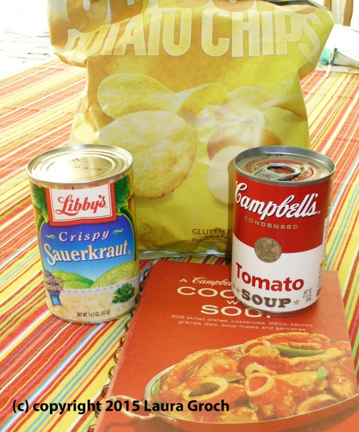 sauerkraut, potato chips, tomato soup