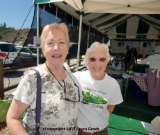 Me with Jean Bruns of the San Dieguito Heritage Museum, who was supervising the Encinitas Lima Bean Cookoff and Faire. (Photo by Laura Groch)