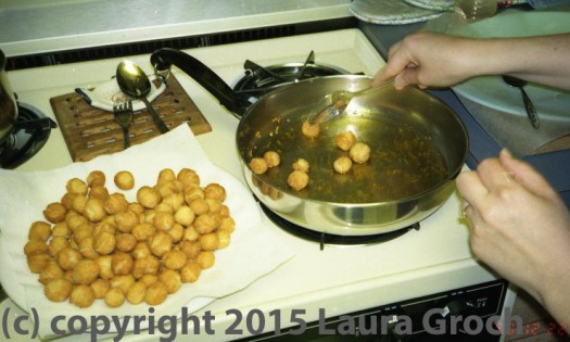 Deep-frying struffoli