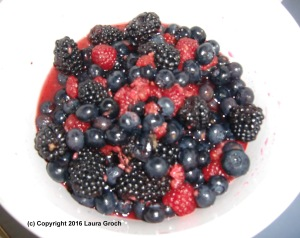 I used a colorful mix of seasonal blueberries, raspberries and blackberries. Photo by Laura Groch
