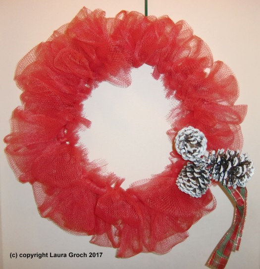 Christmas netting wreath